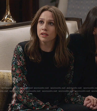 Catherine's black sweater with floral sleeves on Veep