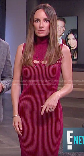 Catt's red striped dress with lacing on E! News