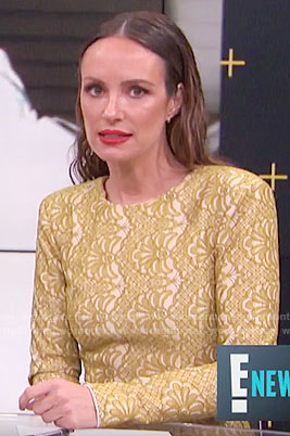 Catt's yellow long sleeve lace dress on E! News