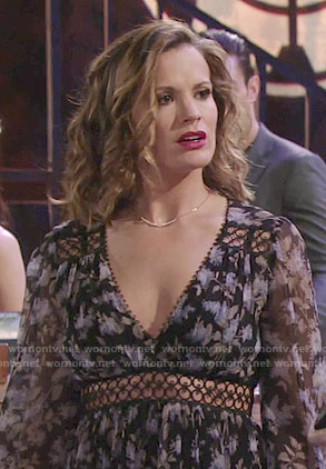 Chelsea's floral dress at Chloe's bachelorette party on The Young and the Restless