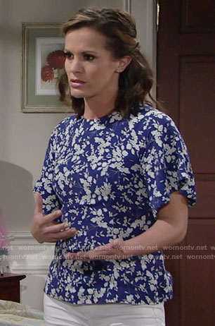 Chelsea's blue floral top on The Young and the Restless