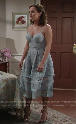 Chelsea's blue tiered lace dress on The Young and the Restless