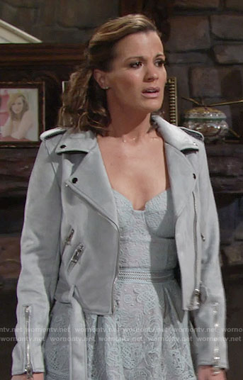 Chelsea's grey suede moto jacket on The Young and the Restless
