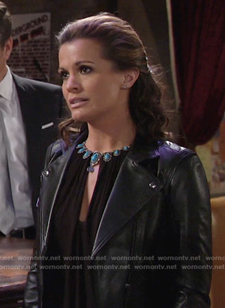 Chelsea's perforated leather jacket on The Young and the Restless