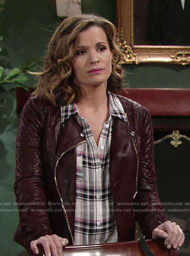 Chelsea's plaid shirt and burgundy leather jacket on The Young and the Restless