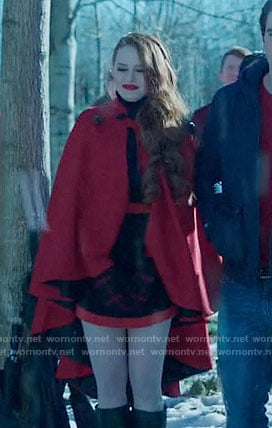 Cheryl's black dress with red trim and red cape on Riverdale