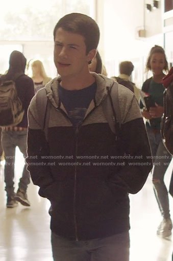 Clay's grey and black hoodie on 13 Reasons Why