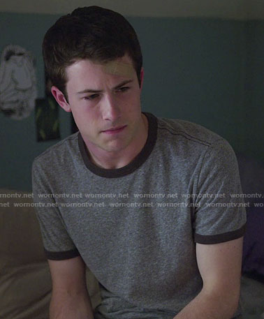 Clay's grey t-shirt with contrasting trim on 13 Reasons Why
