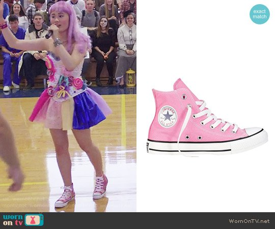 Converse Chuck Taylor High Top Sneakers in Pink worn by Courtney Crimsen (Michele Selene Ang) on 13 Reasons Why