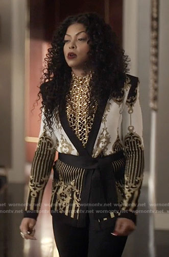 Cookie's black, white, and gold patterned jacket on Empire