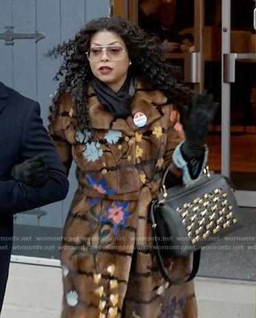 Cookie's floral fur coat and studded bag on Empire