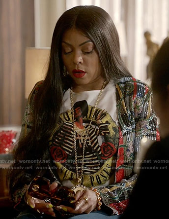 Cookie's Moschino graphic top and metallic patterned jacket on Empire