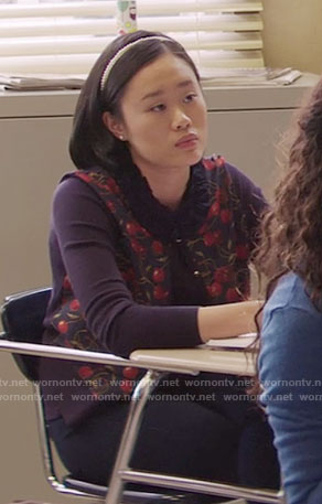 Courtney's cherry print cardigan on 13 Reasons Why