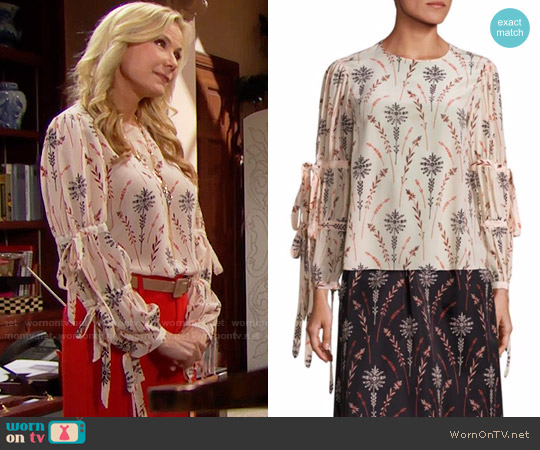 Creatures of the Wind Tav Floral Printed Blouse worn by Brooke Logan (Katherine Kelly Lang) on The Bold & the Beautiful
