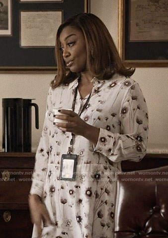 Daisy's white floral shirtdress on Madam Secretary