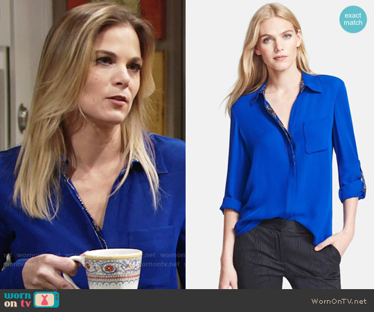 Diane von Furstenberg 'Lorelei' Silk Blouse worn by Gina Tognoni on The Young & the Restless
