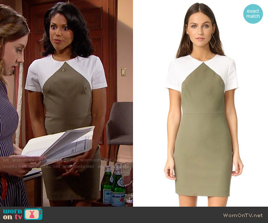 Diane von Furstenberg Short Sleeve Tailored Sheath Dress worn by Maya Avant (Karla Mosley) on The Bold & the Beautiful