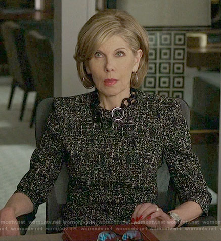 Diane's black tweed print dress on The Good Fight