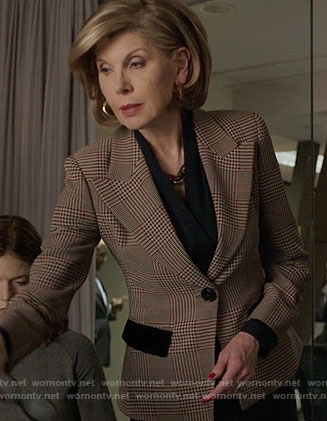 Diane's plaid blazer on The Good Fight
