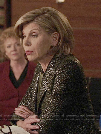 Diane's metallic textured blazer on The Good Fight