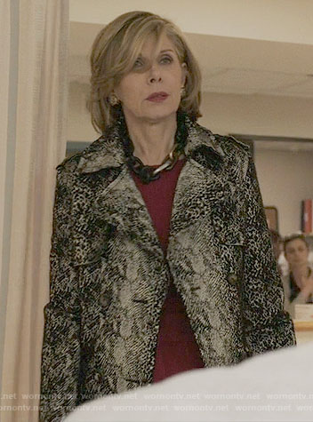 Diane's snakeskin print trench coat on The Good Fight