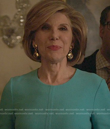 Diane's turquoise blue dress on The Good Fight
