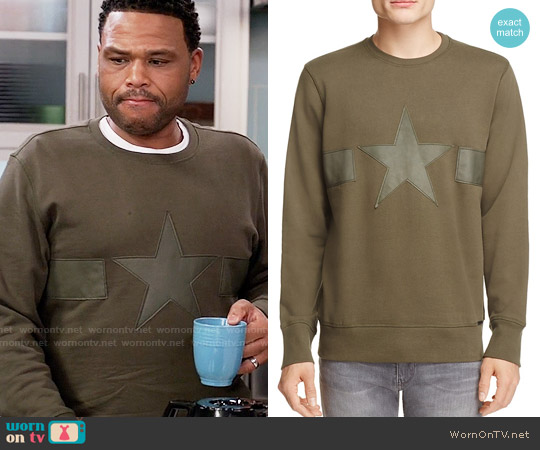 Diesel Leather Trim Star Sweatshirt worn by Anthony Anderson on Blackish