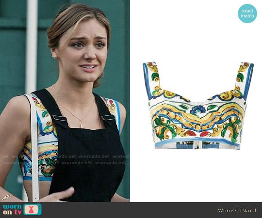 Dolce & Gabbana Majolica Print Bra Top worn by Christine Evangelista on The Arrangement