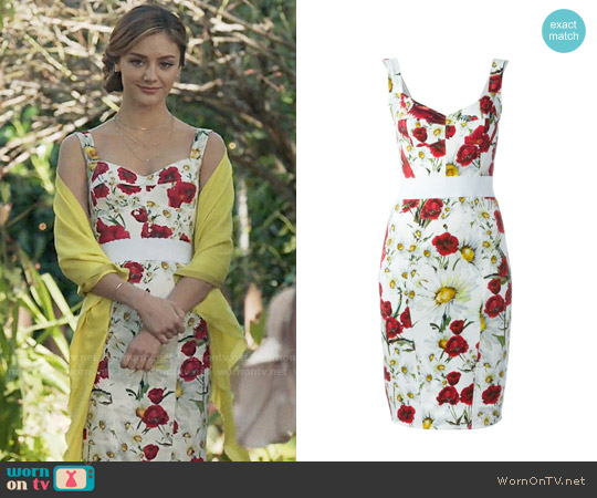 Dolce & Gabbana Daisy and Poppy Print Dress worn by Christine Evangelista on The Arrangement