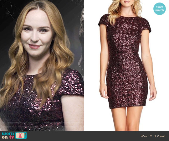 Dress the Population Tabitha Dress in Wine worn by Camryn Grimes on The Young & the Restless