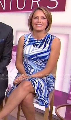 Dylan's blue leaf print dress on Today