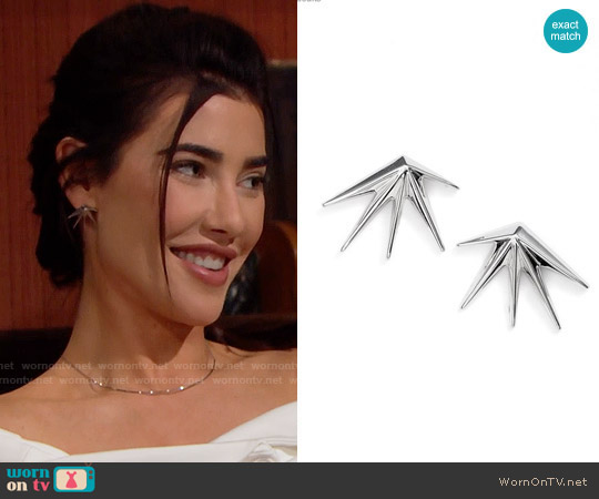 Eddie Borgo Cyrus Earrings worn by Steffy Forrester on The Bold & the Beautiful