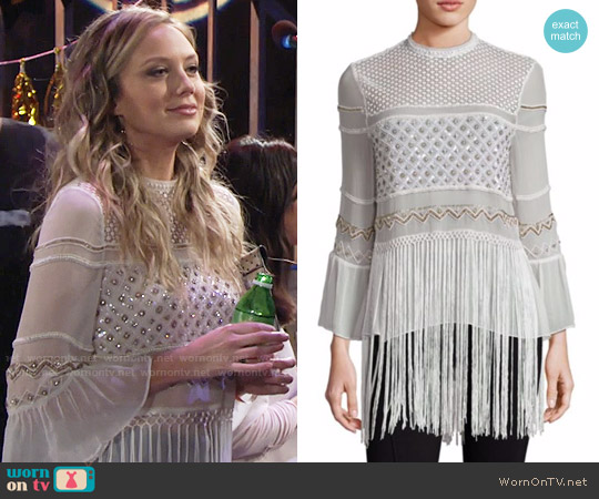 Elie Tahari Aislin Silk Fringe Hem Blouse worn by Melissa Ordway on The Young & the Restless