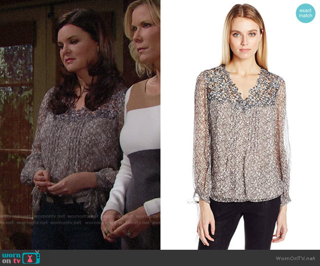 Elie Tahari Brunella Silk Blouse in Chicory worn by Katie Logan (Heather Tom) on The Bold & the Beautiful