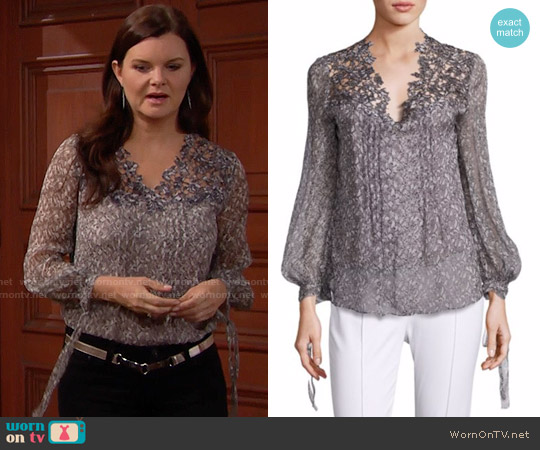 Elie Tahari Brunella Silk Blouse in Chicory worn by Heather Tom on The Bold & the Beautiful
