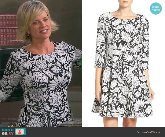 Eliza J Two-Tone Jacquard Fit & Flare Dress worn by Mary Beth Evans on Days of our Lives