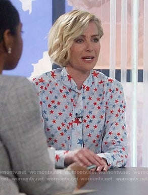 Elizabeth's blue and red star print blouse on Scandal