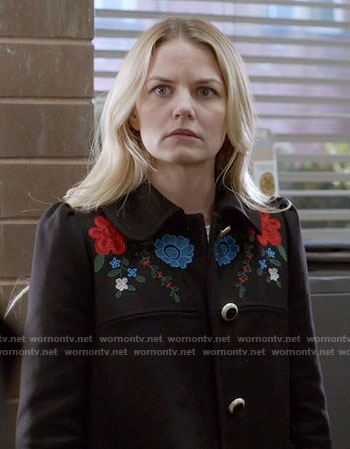 Emma's black coat with floral embroidery on Once Upon a Time