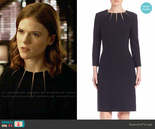 Escada Illusion Slit Wool Dress worn by Maia Rindell (Rose Leslie) on The Good Fight
