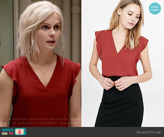 Express V-neck Ruffle Sleeve Blouse worn by Liv Moore (Rose McIver) on iZombie