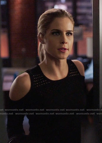 Felicity's black mesh cold-shoulder sweater on Arrow