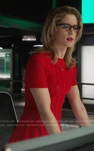 Felicity's red short sleeve dress on Arrow