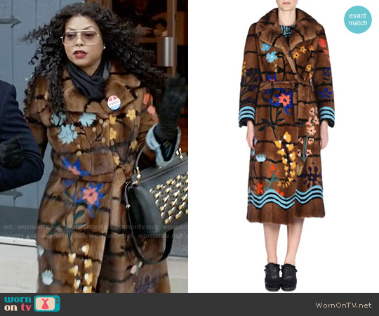 Fendi Floral Intarsia Mink Fur Coat worn by Taraji P. Henson on Empire