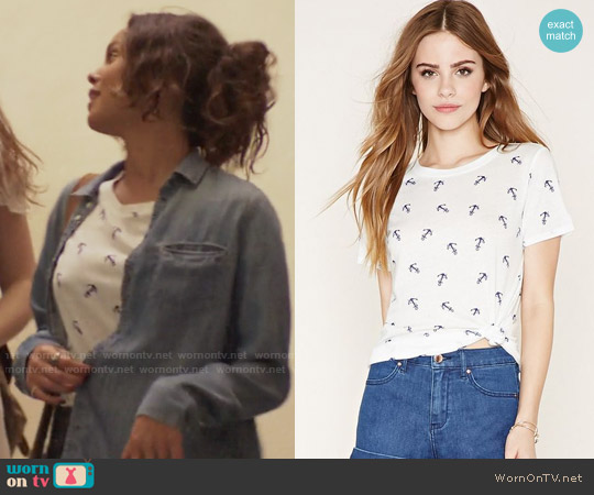 Forever 21 Anchor Print Graphic Tee worn by Alisha Boe on 13 Reasons Why