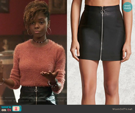 Forever 21 Zipper Faux Leather Mini Skirt worn by Ashleigh Murray on Riverdale