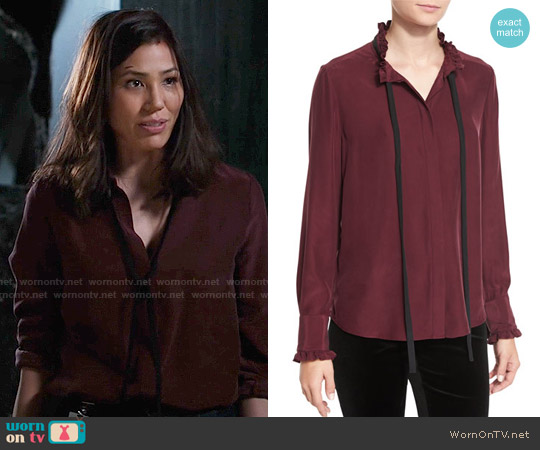 Frame Ruffle Neck Long-Sleeve Blouse worn by Michaela Conlin on Bones