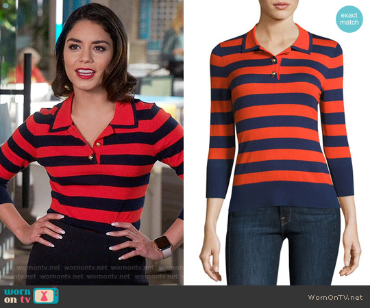 Frame Rugby-Stripe Polo Sweater worn by Emily Locke (Vanessa Hudgens) on Powerless
