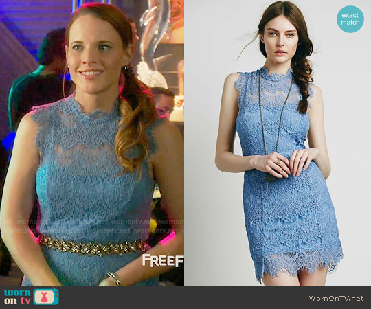 Free People Daydream Bodycon Slip in Carribean Sea worn by Daphne Vasquez (Katie Leclerc) on Switched at Birth