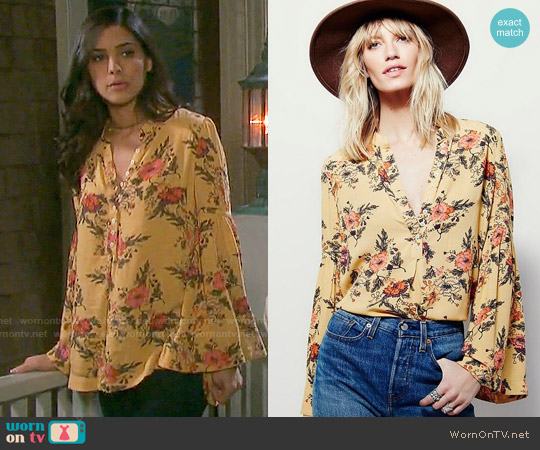 Free People Easy Girl Printed Top worn by Gabi Hernandez (Camila Banus) on Days of our Lives