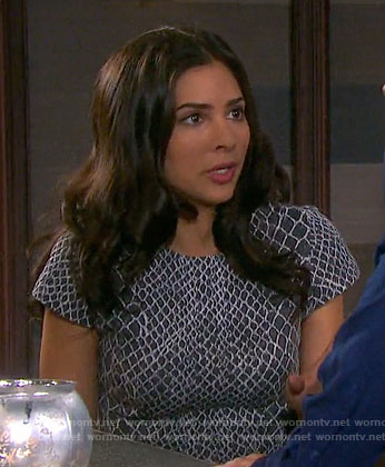 Gabi's grey snake print crop top and pencil skirt on Days of our Lives